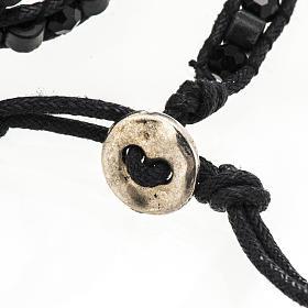 Pulsera Milagrosa cuerda granos de madera y cristal s6