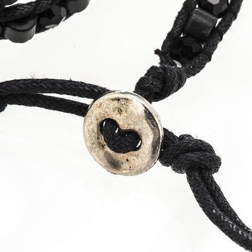 Pulsera Milagrosa cuerda granos de madera y cristal 6