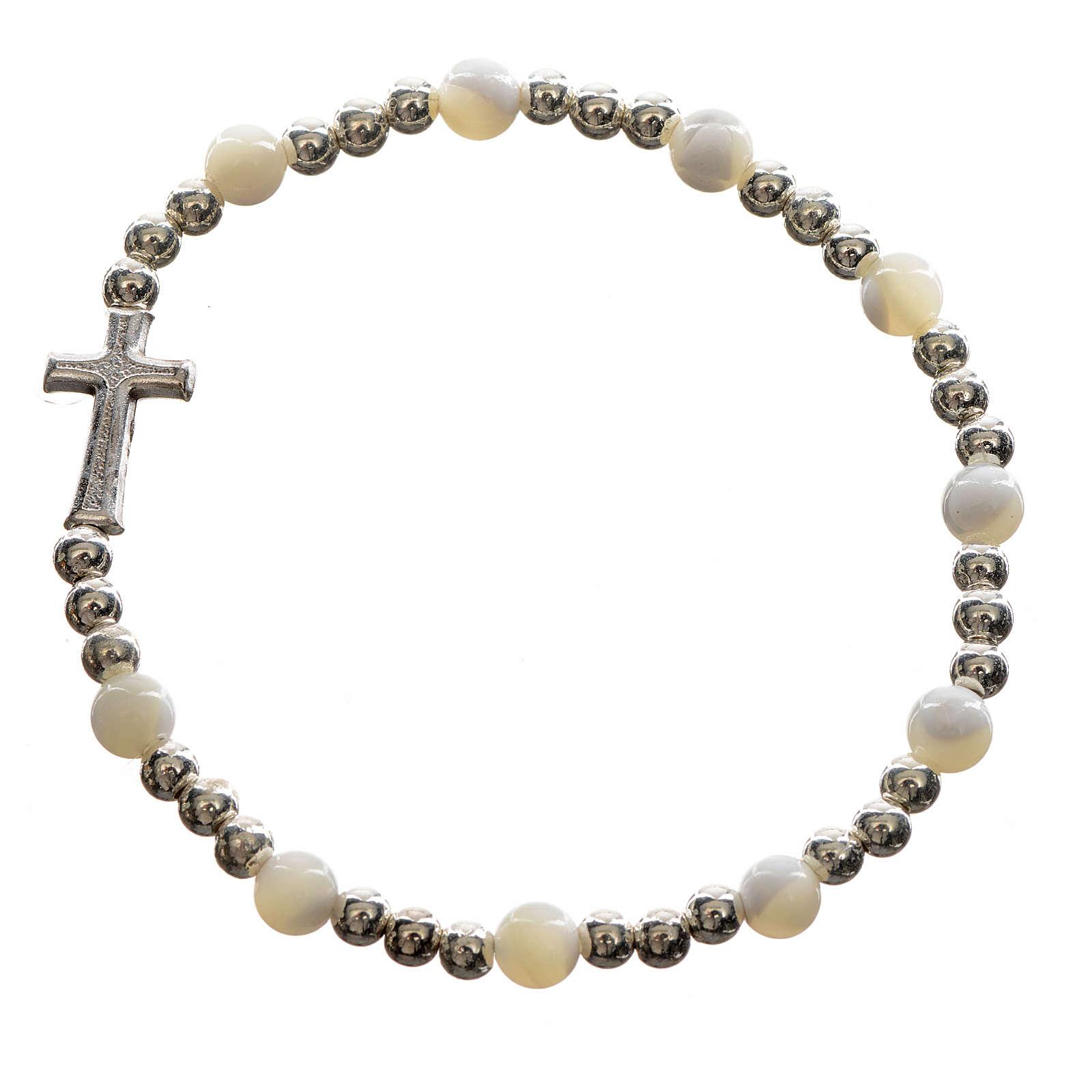 Elastic bracelet with hard stones and cross 4