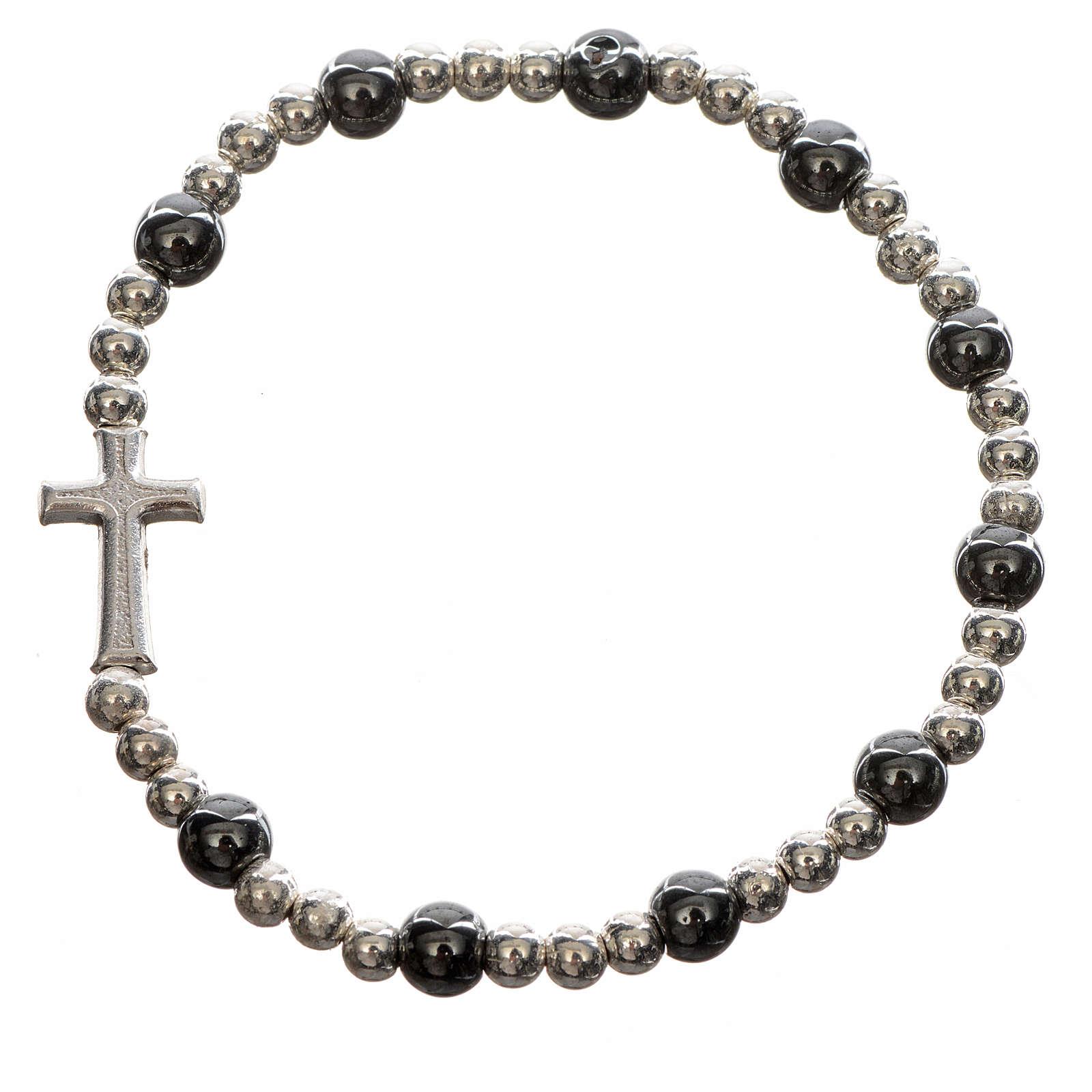 Bracelet élastique pierres dures et croix 4