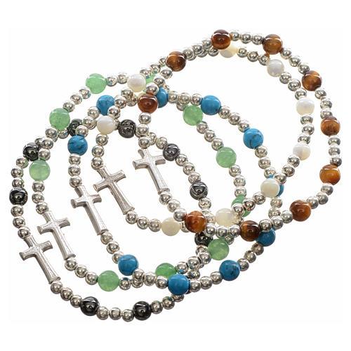 Bracelet élastique pierres dures et croix 1