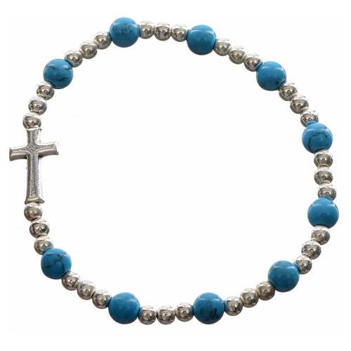 Bracelet élastique pierres dures et croix 5