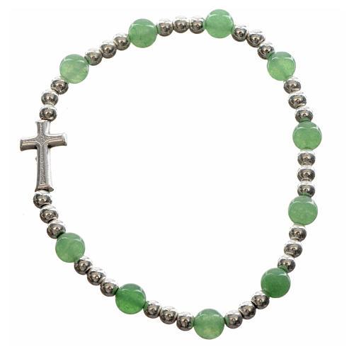 Bracelet élastique pierres dures et croix 6