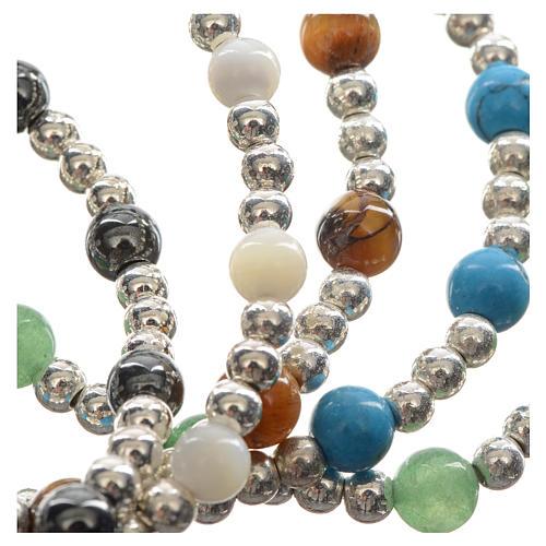 Bracelet élastique pierres dures et croix 7