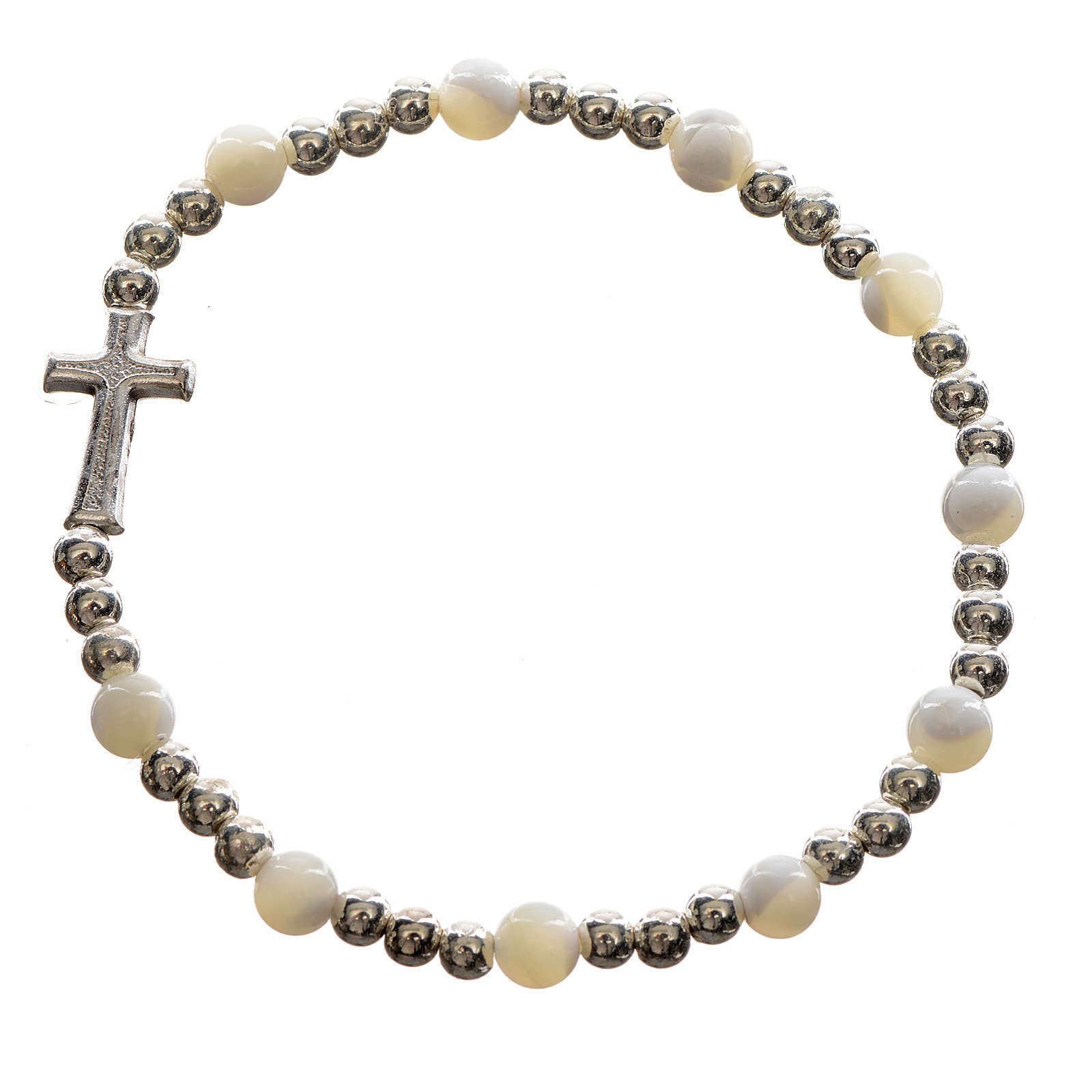 Elastic bracelet with hard stones and cross 4