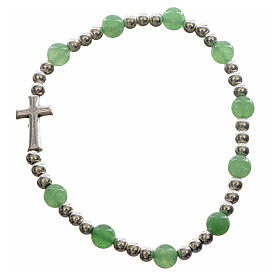 Elastic bracelet with hard stones and cross s6