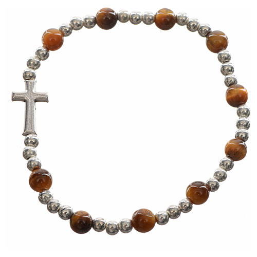Elastic bracelet with hard stones and cross 3