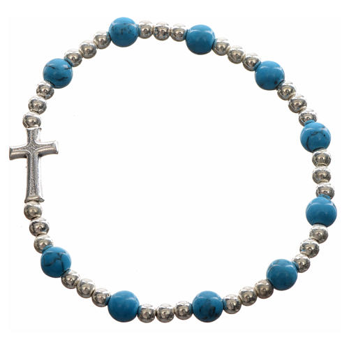 Elastic bracelet with hard stones and cross 5