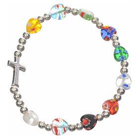 Elastic bracelet with Murano glass heart s1