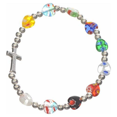 Elastic bracelet with Murano glass heart 1