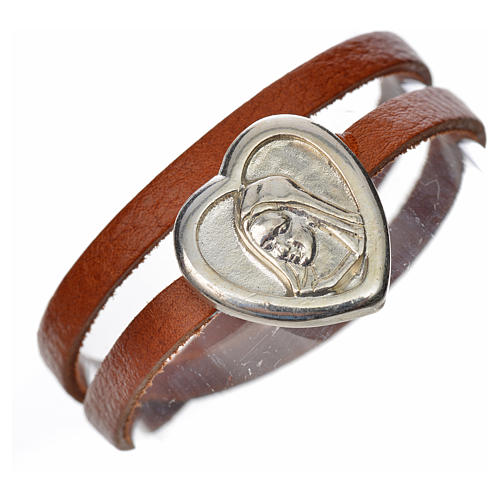 Bracelet in tan leather with Virgin Mary pendant 1