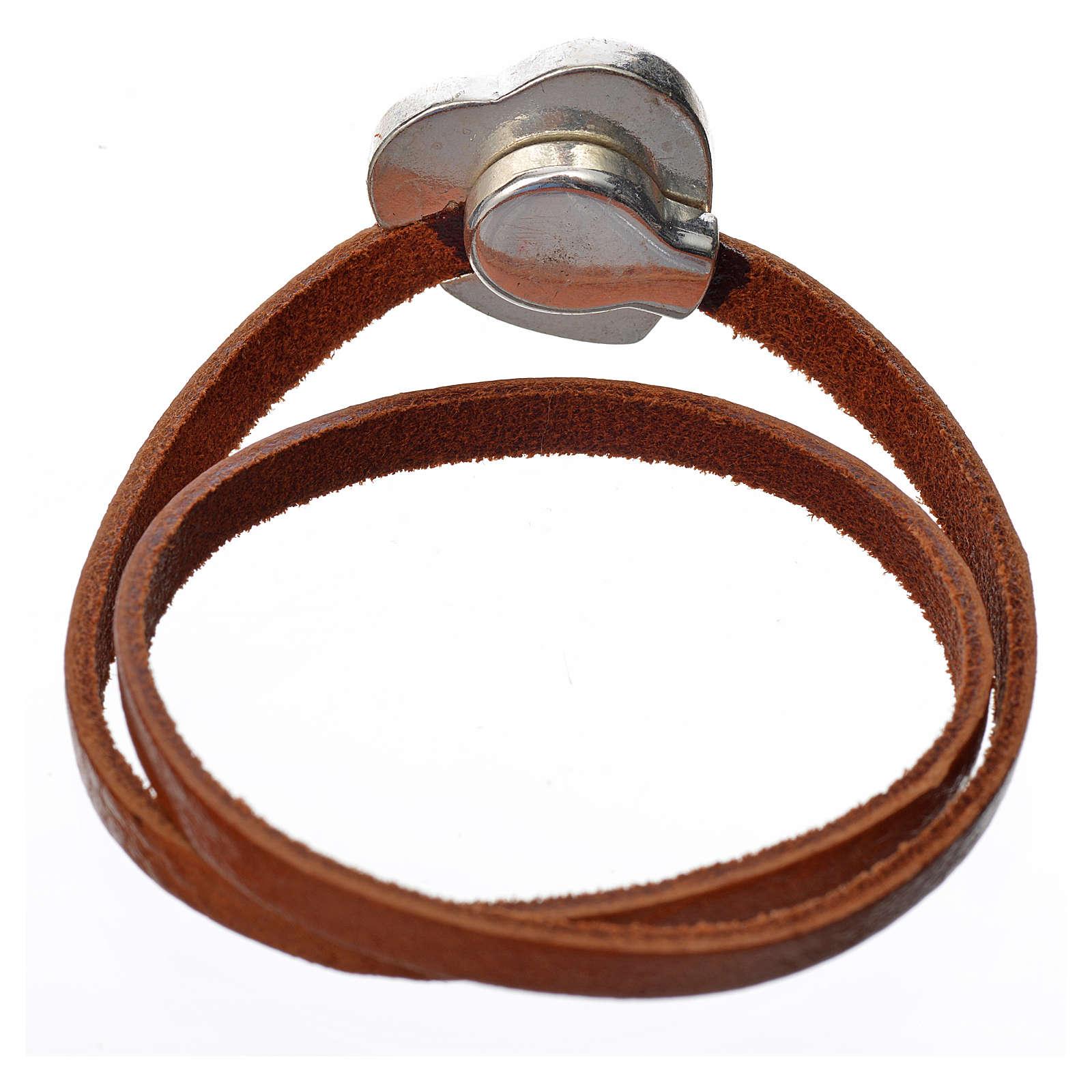 Bracelet image Vierge Marie cuir marron clair 4