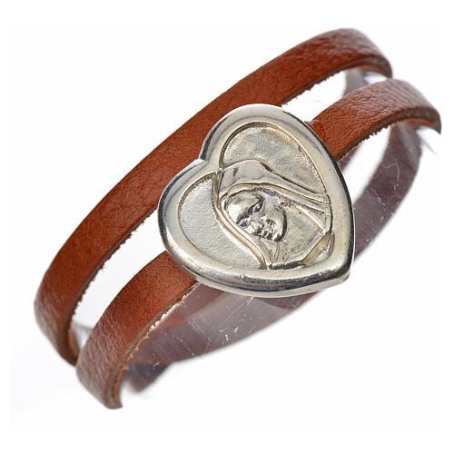 Bracelet image Vierge Marie cuir marron clair 1