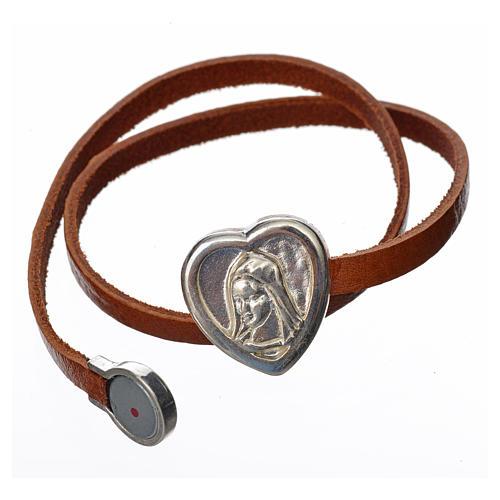 Bracelet image Vierge Marie cuir marron clair 2