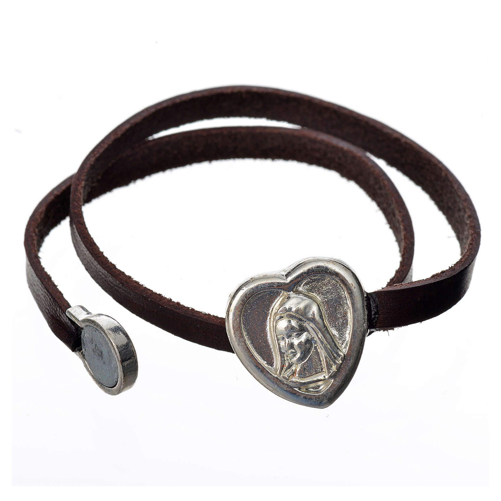 Bracelet in dark brown leather with Virgin Mary pendant 4