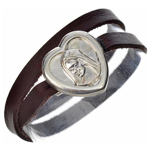 Bracelet in dark brown leather with Virgin Mary pendant 1