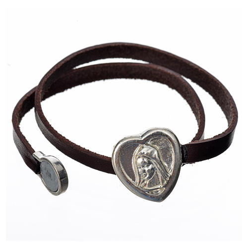 STOCK Bracciale pelle marrone scuro placca Madonna 2