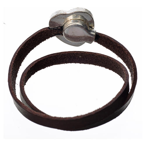 STOCK Bracciale pelle marrone scuro placca Madonna 3