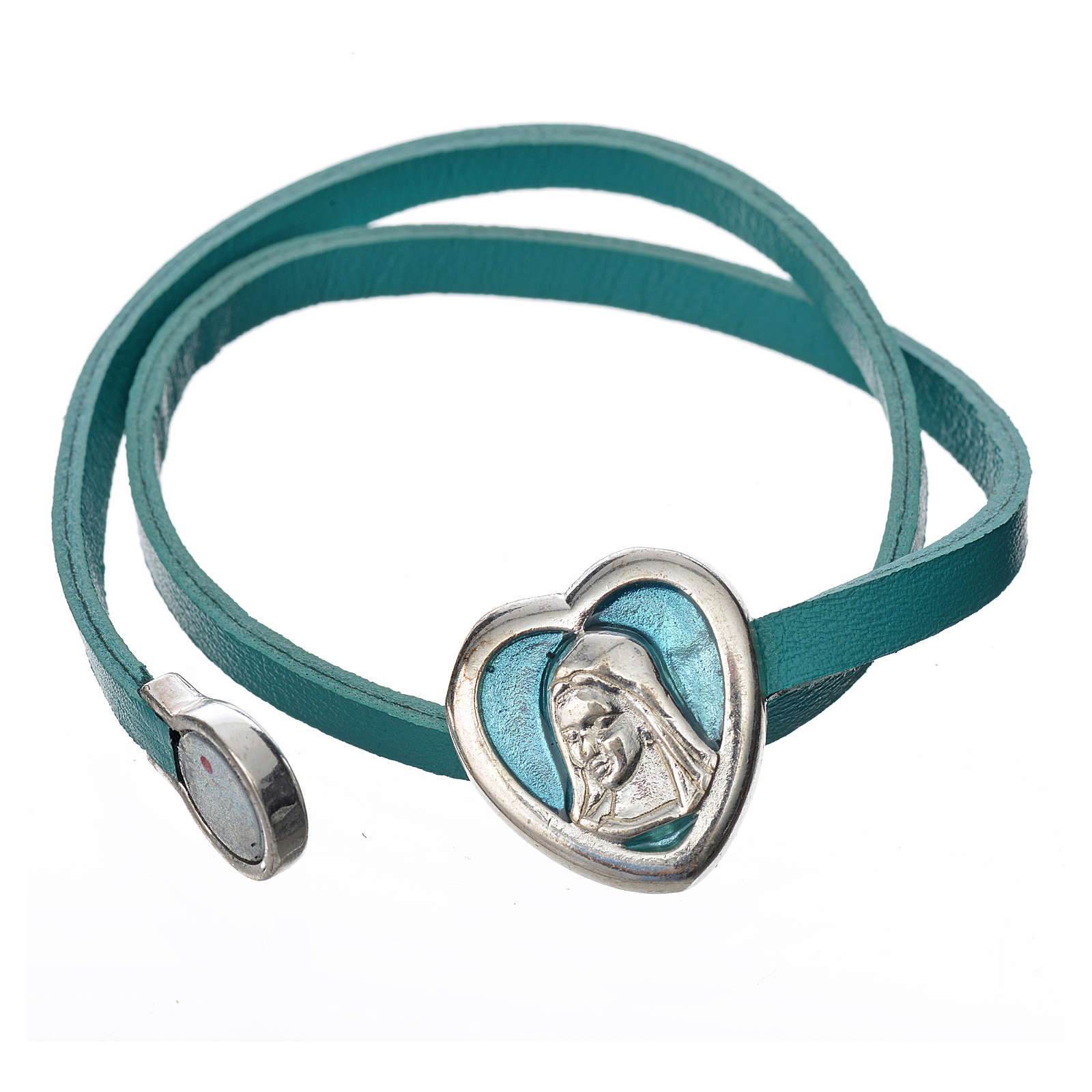 Bracelet in light blue leather with Virgin Mary pendant 4