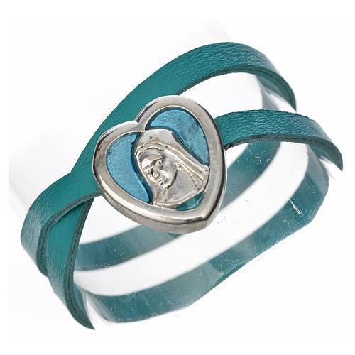 Bracelet in light blue leather with Virgin Mary pendant 1