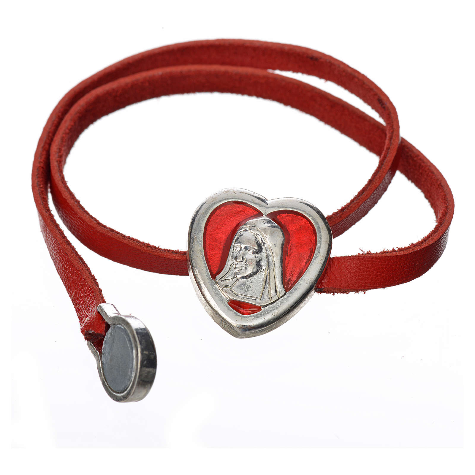 Bracelet in red leather with Virgin Mary pendant 4