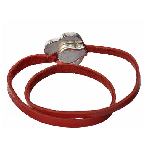 Bracelet in red leather with Virgin Mary pendant 3