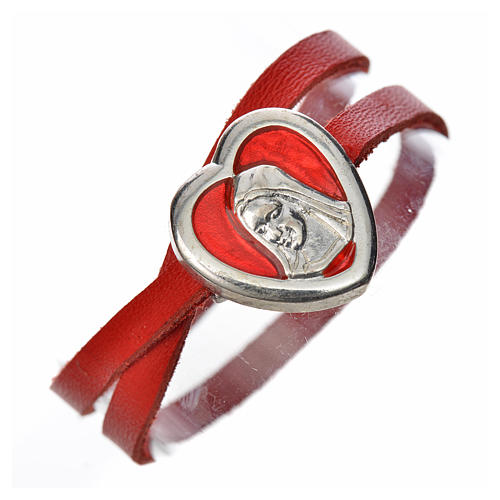 Bracelet in red leather with Virgin Mary pendant 1