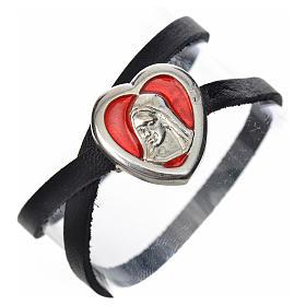 Bracelet in black leather with Virgin Mary pendant red enamel s1