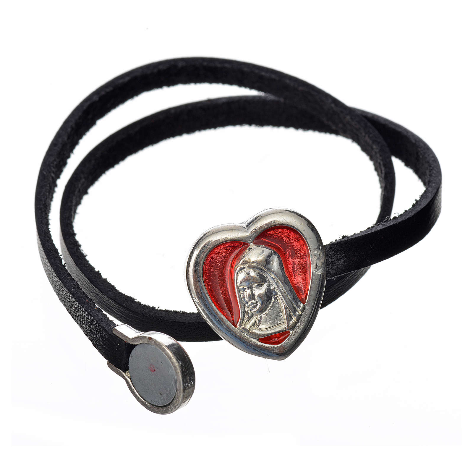 Bracelet cuir noir image Vierge Marie émail rouge 4