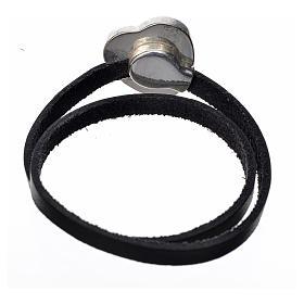 Bracelet cuir noir image Vierge Marie émail rouge s3