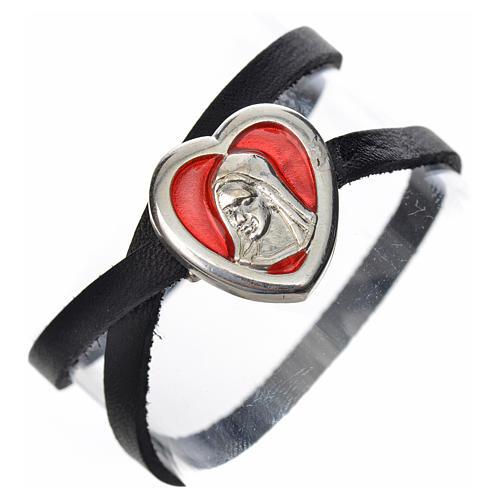 Bracelet cuir noir image Vierge Marie émail rouge 1