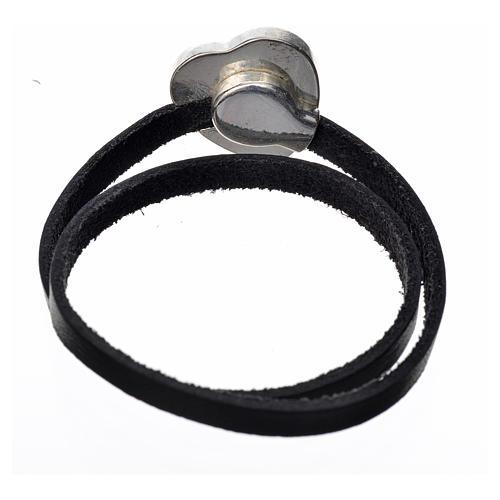 Bracelet cuir noir image Vierge Marie émail rouge 3