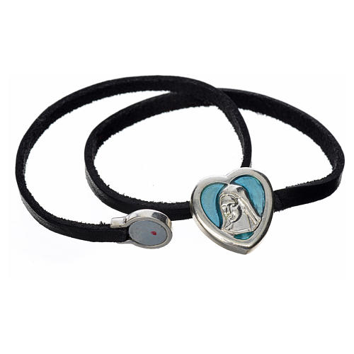 Bracelet in black leather with Virgin Mary pendant blue enamel 2