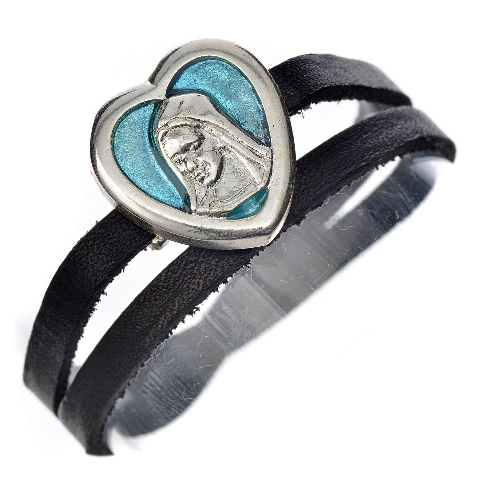 Pulseira couro preto placa Virgem Maria esmalte azul 4