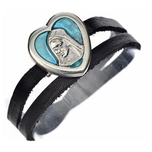 Pulseira couro preto placa Virgem Maria esmalte azul 1