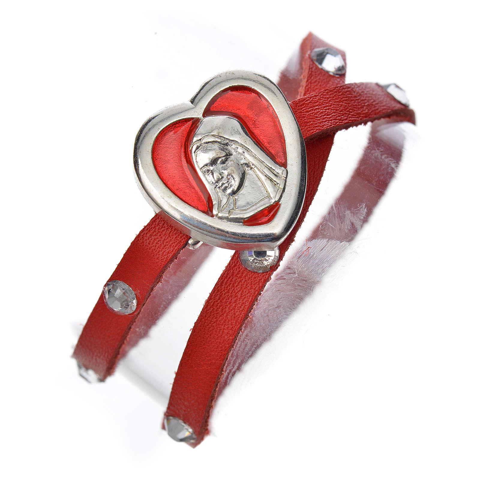 Bracelet with Swarovski, red leather, Virgin Mary pendant 4