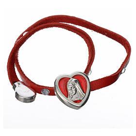 Bracelet with Swarovski, red leather, Virgin Mary pendant s2