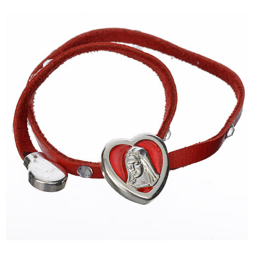 Bracelet with Swarovski, red leather, Virgin Mary pendant 2