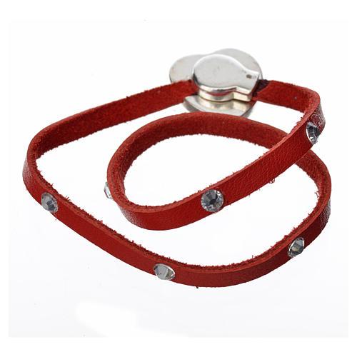 Bracelet with Swarovski, red leather, Virgin Mary pendant 3
