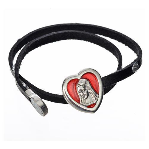 Bracelet cuir noir et Swarovski image Vierge Marie émail rouge 2