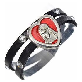 Pulseira Swarovski couro preto placa Nossa Senhora esmalte vermelho s1