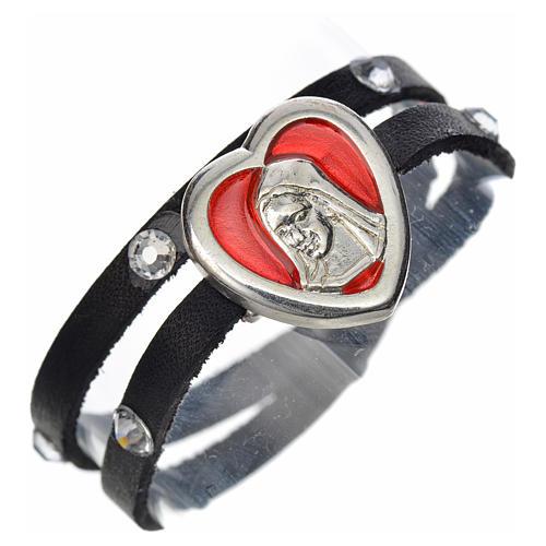 Pulseira Swarovski couro preto placa Nossa Senhora esmalte vermelho 1