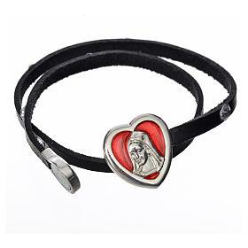 Bracelet black leather, Swarovski Virgin Mary pendant red enamel s2