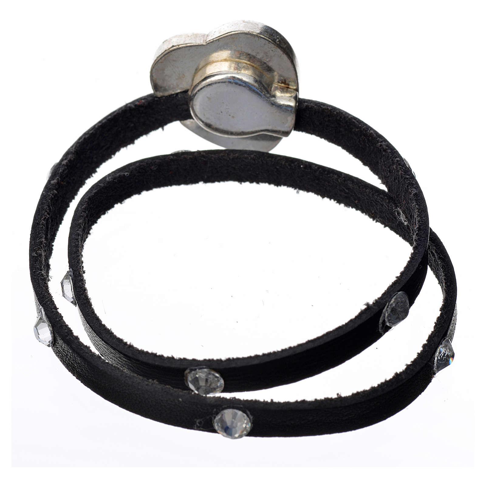 Bracelet cuir noir et Swarovski image Vierge Marie 4