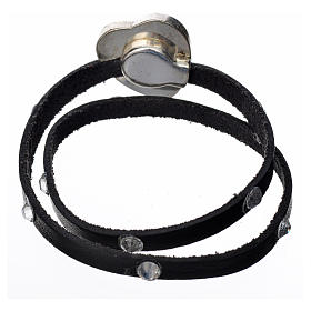Bracelet cuir noir et Swarovski image Vierge Marie s3