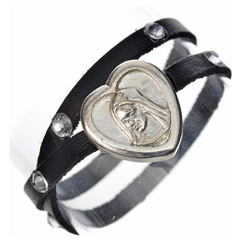 Bracelet cuir noir et Swarovski image Vierge Marie 1