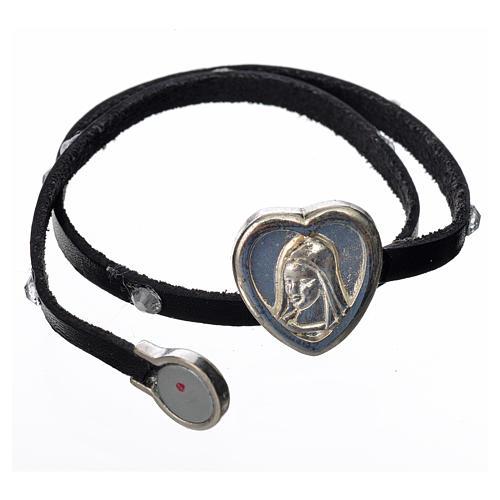 Bracelet cuir noir et Swarovski image Vierge Marie 2