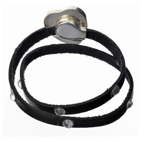 Bracelet cuir noir et Swarovski image Vierge Marie 3