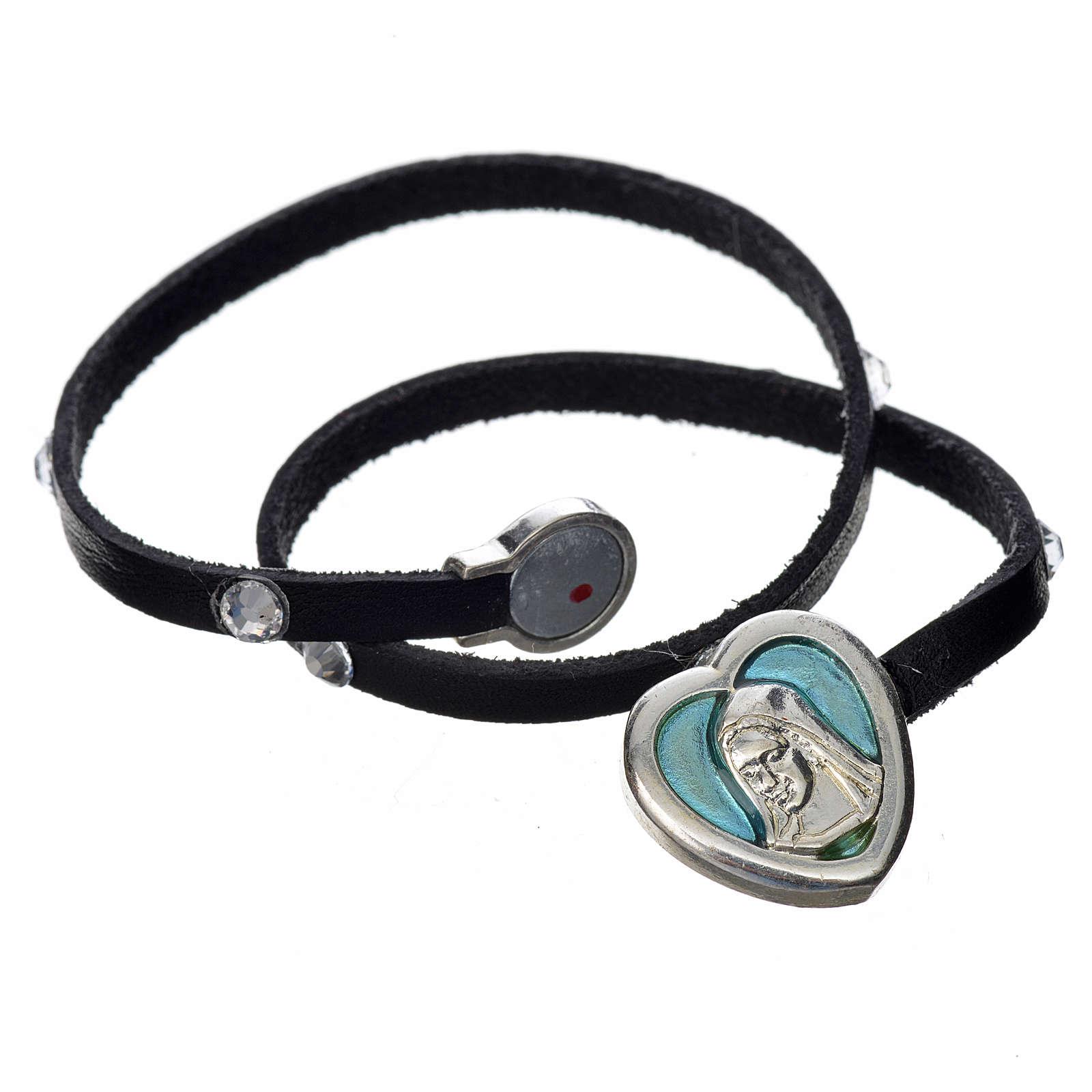 Bracelet cuir noir et Swarovski image Vierge Marie émail bleu 4