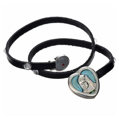 Bracelet cuir noir et Swarovski image Vierge Marie émail bleu 2